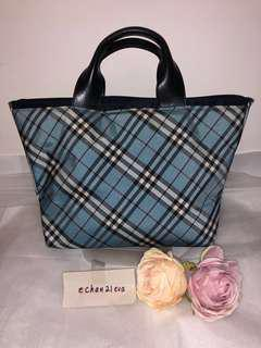 【JAPAN】Auth BURBERRY BLUE LABEL Blue Check Top Handle Briefcase Handbag