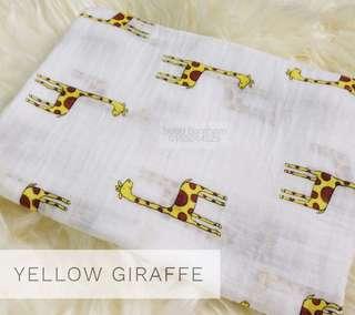 Bubu Bambam Yellow Giraffe Muslin Cotton Baby Swaddle