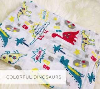 Bubu Bambam Colorful Dinosaurs Muslin Cotton Baby Swaddle