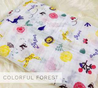 Bubu Bambam Colorful Forest Muslin Cotton Baby Swaddle