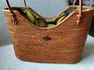 Woven Rattan Tote Bag
