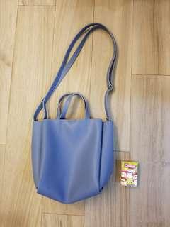 購自韓國紫藍色多格手袋