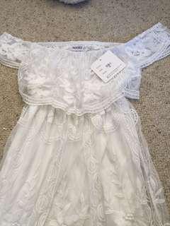 White lace off shoulder midi dress
