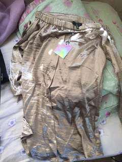 Off shoulder long sleeve button down silk midi dress