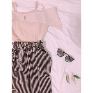 🚚 泰國🇹🇭買回全新雪紡上衣杏色一字領下擺魚尾線條長長裙