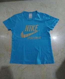Nike Tee Kaos Swoosh Blue Gold