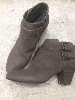 ash Jason buckle suede heeled ankle boots