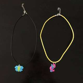 New 2 children's corded necklaces with rubber charms