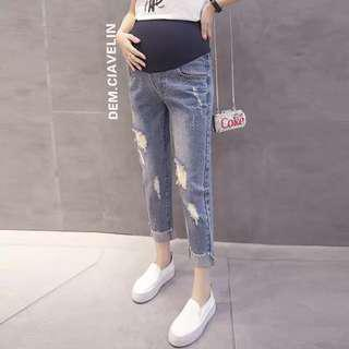 Maternity pregnant ripped jeans