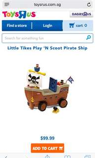 BNIB Little Tikes - Play n' Scoot Pirate Ship