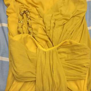 Mustard Yellow one-shoulder strap dress