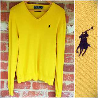 Free Post - Ralph Lauren × Yellow Pima Cotton V Neck M