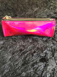 YSL makeup pouch holographic pink