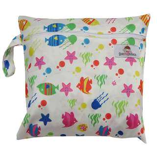 Multipurpose Single Zip with snap button Wetbag ~ Starfish