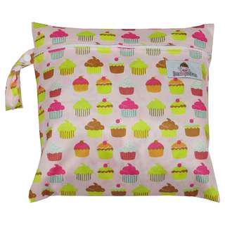 Multipurpose Single Zip with snap button Wetbag ~ Happy Cupcakes