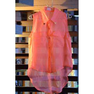 See thru Orange low back top