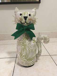 Handmade fabric cat door stopper.