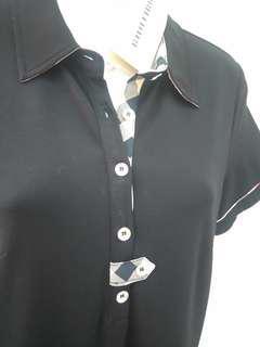 黑色高貴洋裝 經典條紋領