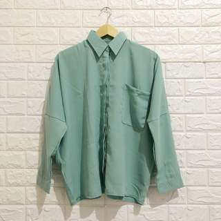BARU NEGO TIPIS Plain Loose Blouse in Mint