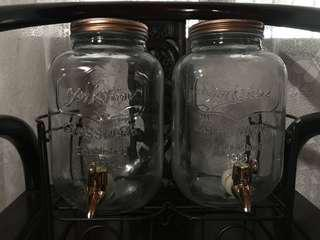 Dual Mason Jars with Stand