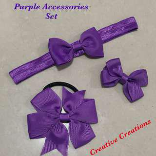 <Free Normal Postage >Purple Theme Hair Accessories Set