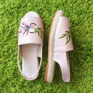Pink Embroidered Sandals