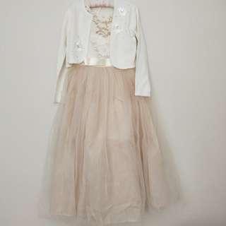 Long Cream Formal or Semi Formal Dress