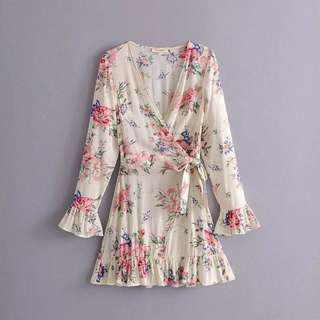 Floral Blouse Dress Bell sleeve