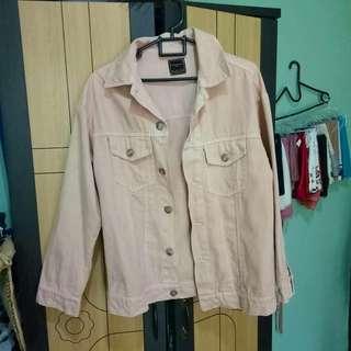 baby pink oversize denim jacket jeans