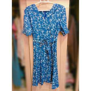 🚚 全新印花綁帶洋裝-藍