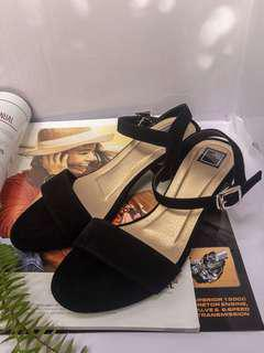 Black Block Strap Heels