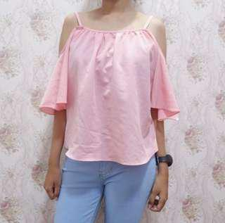 Baju sabrina cutout off shoulder pink / bershka H&M top