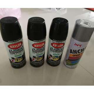 Spray paint (painting graffitis art black and silver) CHEAP