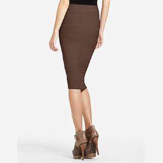 BCBG Maxazria Brown Bandage Midi Skirt XS