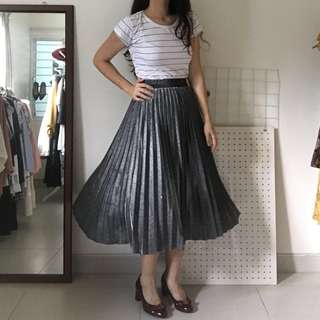 Silver Pleated Flare A-line Midi Skirt