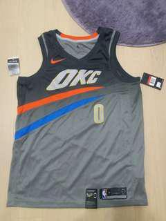全新 Nike Okc Westbrook 威少 Mvp L size #0 雷霆 City Series 球衣 籃球
