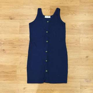 Vintage Navy Blue Bodycon Dress
