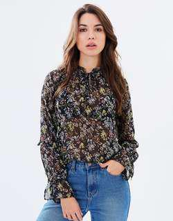 Forcast Miller Floral Frilled Blouse Top - Size 8 RRP $60