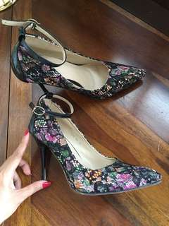 IcoNinety9 floral ankle strap heels