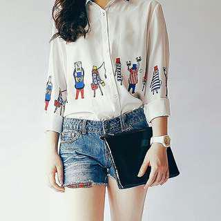 Polo collared printed chiffon blouse