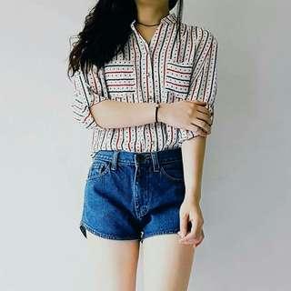 Pattern printed chiffon blouse