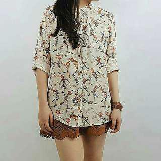 Retro printed chiffon blouse