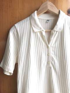 🈹Cream white polo shirt 米色羅紋有領短袖上衣