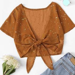 Star Tie Front Blouse