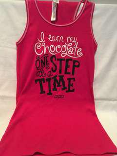Lorna Jane pink gym top ' I earn my chocolate one step at a time'