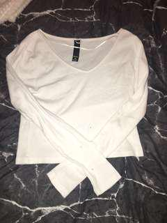 White V neck crop top