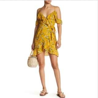 BNWT Reverse Yellow Floral Print Wrap Dress Size XS Womens