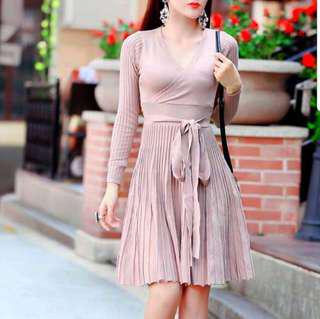 Wrapped Plated Textured Knit Dress