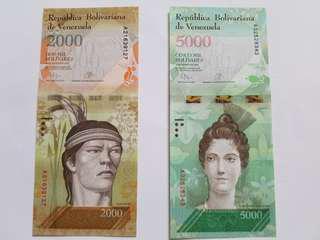 UNC 委內瑞拉 10-Set of Venezuela Bank Notes