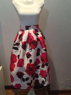 Chicwish Large Rose Print long skirt size 6